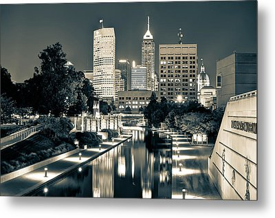 Downtown Indianapolis Indiana Skyline In Sepia Metal Print