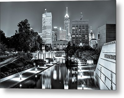 Downtown Indianapolis Skyline - Black And White Metal Print by Gregory Ballos