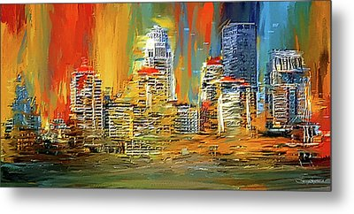 Downtown Louisville - Colorful Abstract Art Metal Print by Lourry Legarde