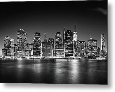 Metal Print featuring the photograph Downtown Manhattan Bw by Az Jackson