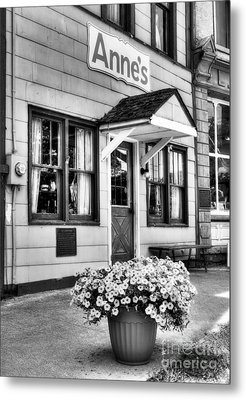 Downtown Metamora Indiana Bw Metal Print by Mel Steinhauer