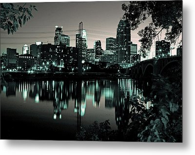 Downtown Minneapolis At Night II Metal Print