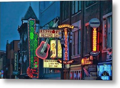 Downtown Nashville At Dusk Metal Print