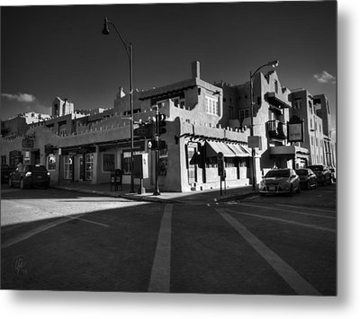 Downtown Santa Fe 001 Bw Metal Print by Lance Vaughn