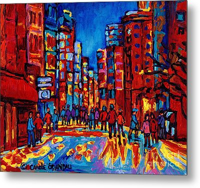 Downtown Skyline City After The Rain Montreal Skyscapers Rue Ste. Catherine Canadian Art Metal Print by Carole Spandau