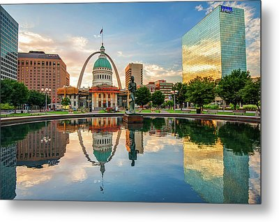 Downtown St. Louis Skyline Morning Sunrise Reflections Metal Print