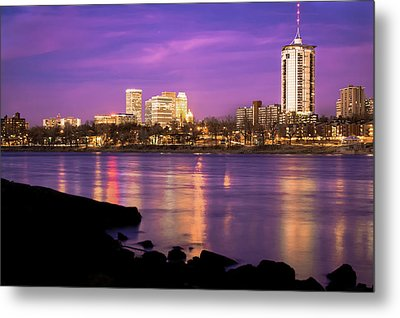 Downtown Tulsa Oklahoma - University Tower View - Purple Skies Metal Print