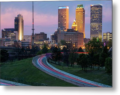 Metal Print featuring the photograph Downtown Tulsa Skyline On The Freeway  by Gregory Ballos