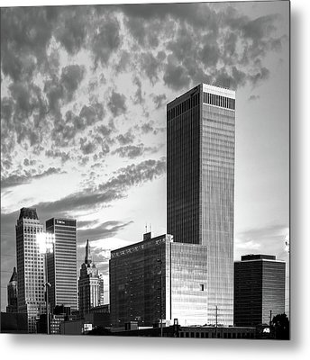 Metal Print featuring the photograph Downtown Tulsa Skyline Squared In Black And White by Gregory Ballos