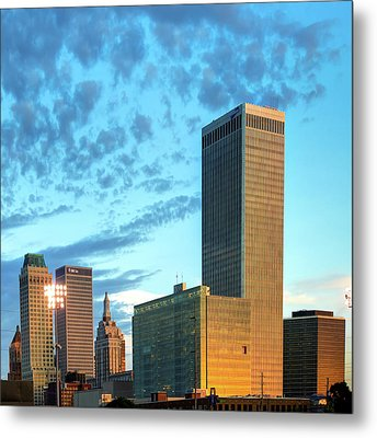 Metal Print featuring the photograph Downtown Tulsa Skyline Squared In Color by Gregory Ballos