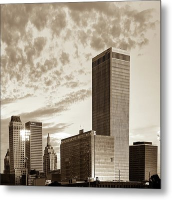 Metal Print featuring the photograph Downtown Tulsa Skyline Squared In Sepia by Gregory Ballos