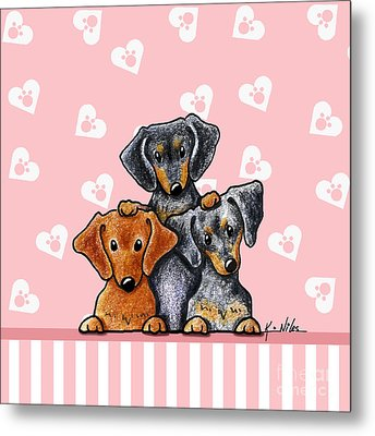 Doxie Trio Metal Print