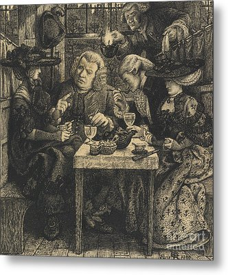 Dr Johnson At The Mitre Metal Print by Dante Gabriel Charles Rossetti