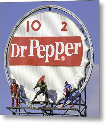 Dr Pepper And The Avengers Squared Metal Print by Keith Mucha
