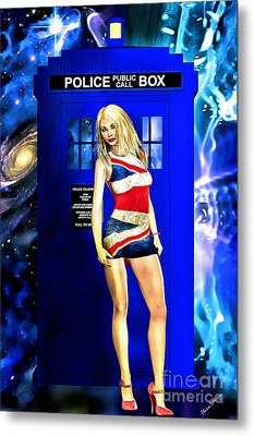 Doctor Who - Tardis And Rose Tyler Metal Print