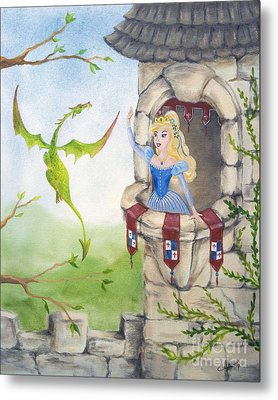 Metal Print featuring the painting Dragon Above The Castle Wall by Cathy Cleveland