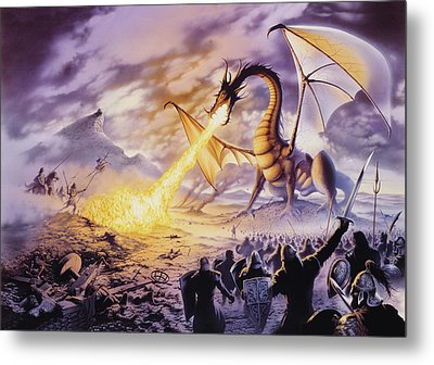Dragon Battle Metal Print by The Dragon Chronicles - Steve Re