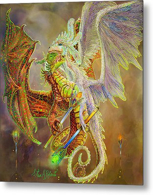 Metal Print featuring the painting Dragon Dancers by Steve Roberts