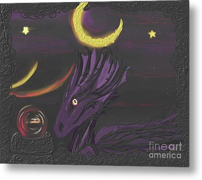 Metal Print featuring the painting Dragon Night by Roxy Riou