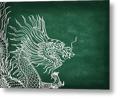 Dragon On Chalkboard Metal Print by Setsiri Silapasuwanchai