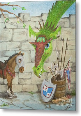 Metal Print featuring the painting Dragon Over The Castle Wall by Cathy Cleveland
