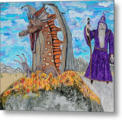 Metal Print featuring the painting Dragon Summons. by Ken Zabel