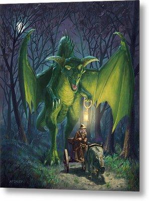 Metal Print featuring the digital art Dragon Walking With Lamp Fantasy by Martin Davey