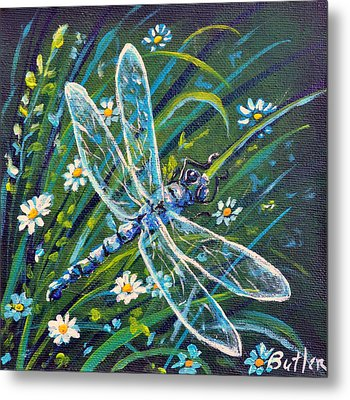 Dragonfly And Daisies Metal Print