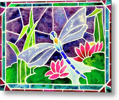 Dragonfly And Water Lily In Stained Glass Metal Print by Janis Grau