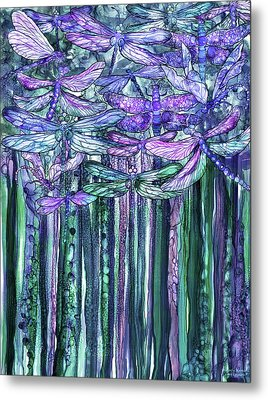 Metal Print featuring the mixed media Dragonfly Bloomies 1 - Lavender Teal by Carol Cavalaris