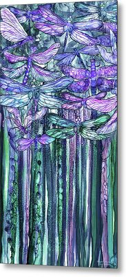 Metal Print featuring the mixed media Dragonfly Bloomies 2 - Lavender Teal by Carol Cavalaris