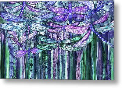 Metal Print featuring the mixed media Dragonfly Bloomies 3 - Lavender Teal by Carol Cavalaris