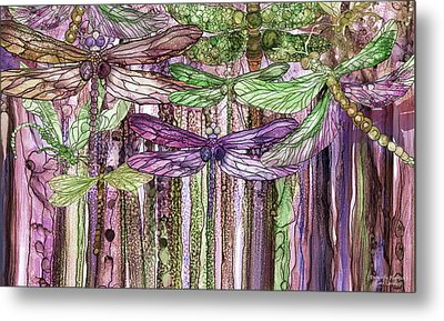 Metal Print featuring the mixed media Dragonfly Bloomies 3 - Pink by Carol Cavalaris