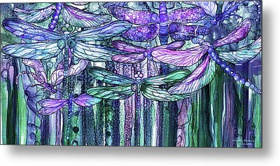 Metal Print featuring the mixed media Dragonfly Bloomies 4 - Lavender Teal by Carol Cavalaris
