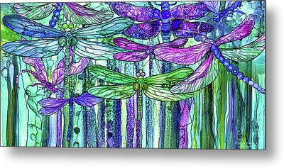 Metal Print featuring the mixed media Dragonfly Bloomies 4 - Purple by Carol Cavalaris