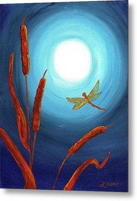 Dragonfly In Teal Moonlight Metal Print