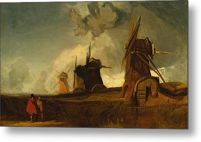 Drainage Mills In The Fens, Croyland, Lincolnshire Metal Print by John Sell Cotman