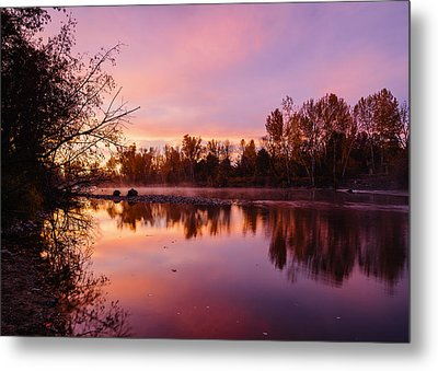 Dramatic Autumn Sunrise Along Boise River Boise Idaho Metal Print