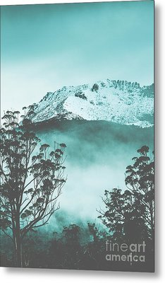 Dramatic Dark Blue Mountain With Snow And Fog Metal Print
