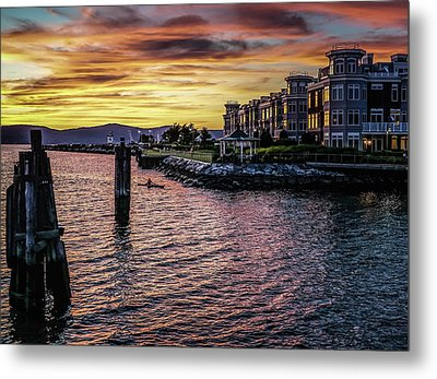Dramatic Hudson River Sunset Metal Print