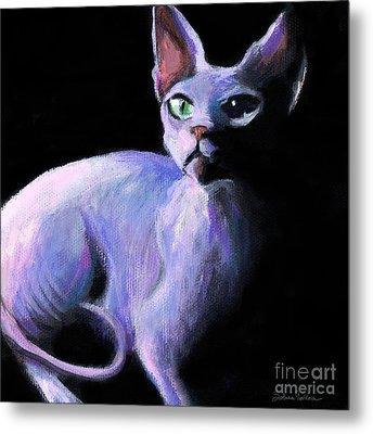 Dramatic Sphynx Cat Print Painting Metal Print by Svetlana Novikova