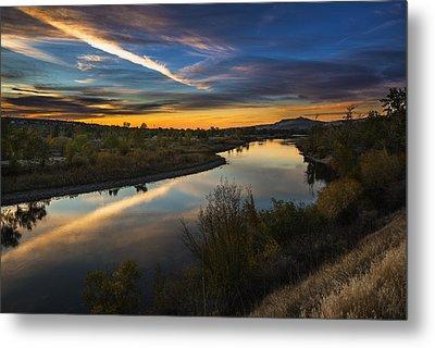 Dramatic Sunset Over Boise River Boise Idaho Metal Print