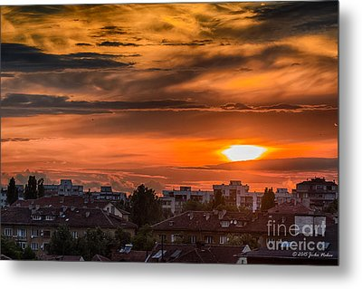 Dramatic Sunset Over Sofia Metal Print by Jivko Nakev
