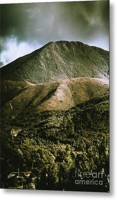 Dramatic View On Mount Zeehan Against Stormy Cloud Metal Print by Jorgo Photography - Wall Art Gallery