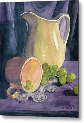 Drapes And Grapes Metal Print by Lynne Reichhart