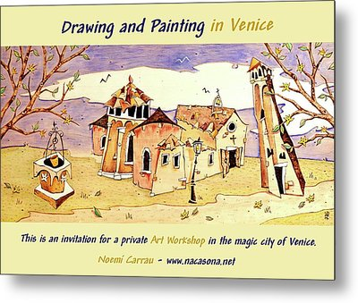 Drawing And Painting In Venice Metal Print