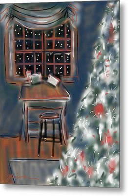 Metal Print featuring the painting Drawing Board At Christmas by Jean Pacheco Ravinski