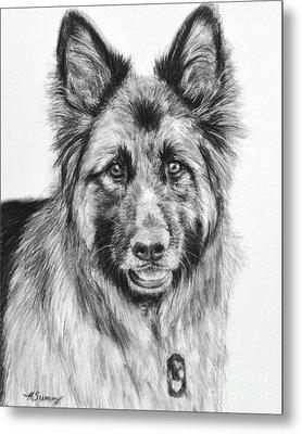 Drawing Of A Long-haired German Shepherd Metal Print