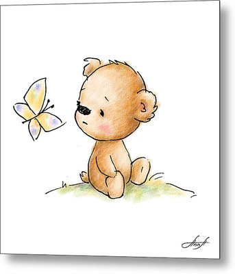 Drawing Of Cute Teddy Bear With Butterfly Metal Print by Anna Abramska
