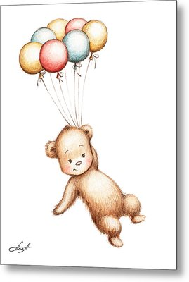 Drawing Of Teddy Bear Flying With Balloons Metal Print by Anna Abramska